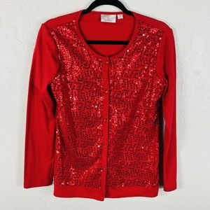 Quacker Factory Size XS Sweater Red Sequin